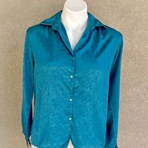 Turquoise Floral Collared Long Sleeves Work Shirt